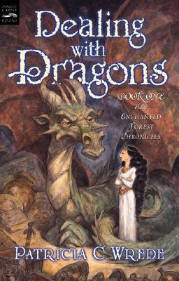 cover of Dealing with Dragons by Patricia C. Wrede shows a princess in white with really long black hair talking to a grumpy and angry looking dragon