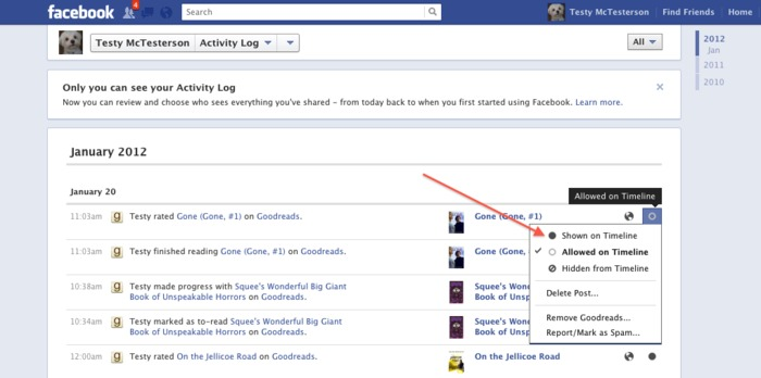 How do i add goodreads updates to my facebook timeline?
