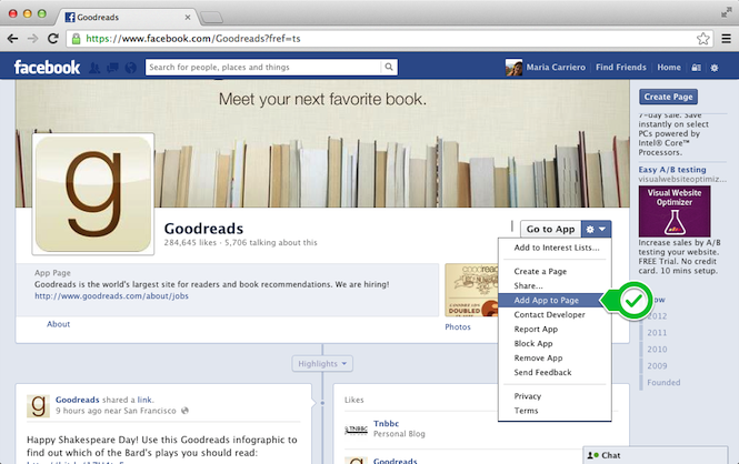 Add App to Page from the Goodreads Page on Facebook