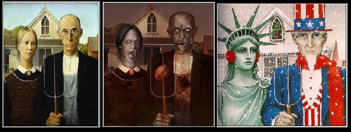 First picture: Standard American Gothic; Second picture: American Gothic zombified; Third picture: American Gothic with Uncle Sam and the Statute of Liberty