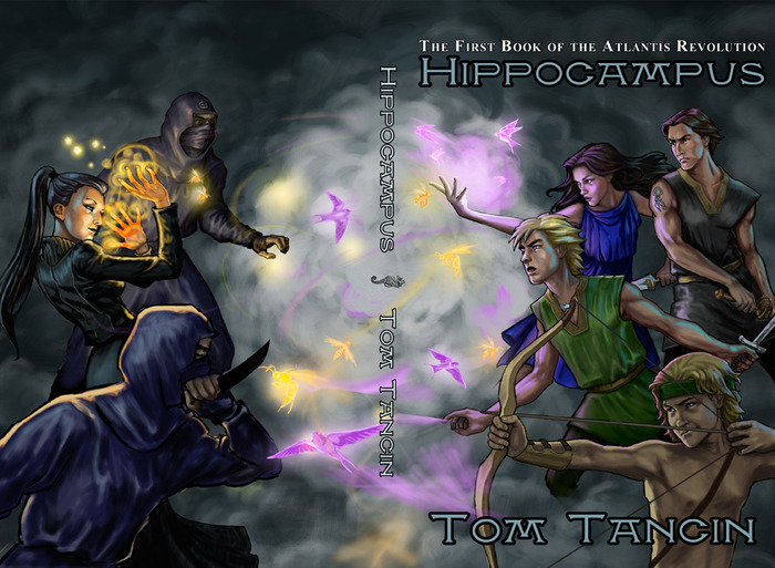 The full wraparound cover for Hippocampus (Book One of the Atlantis Revolution).  Illustration by Veronica Jones.